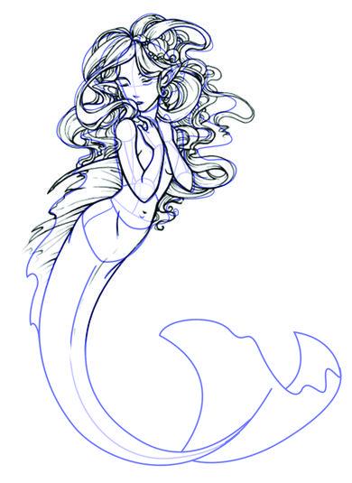 Learn How To Draw A Mermaid Mermaid Sketch Mermaid Drawings