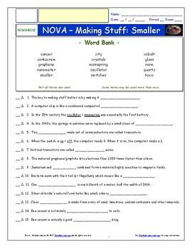 Differentiated Video Worksheet Quiz Ans Pbs Nova Making Stuff Smaller Pbs Nova Worksheets Science Resources