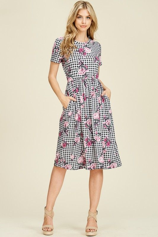 530a20bf904 Chelsey Grid Dress (Pink) in 2019