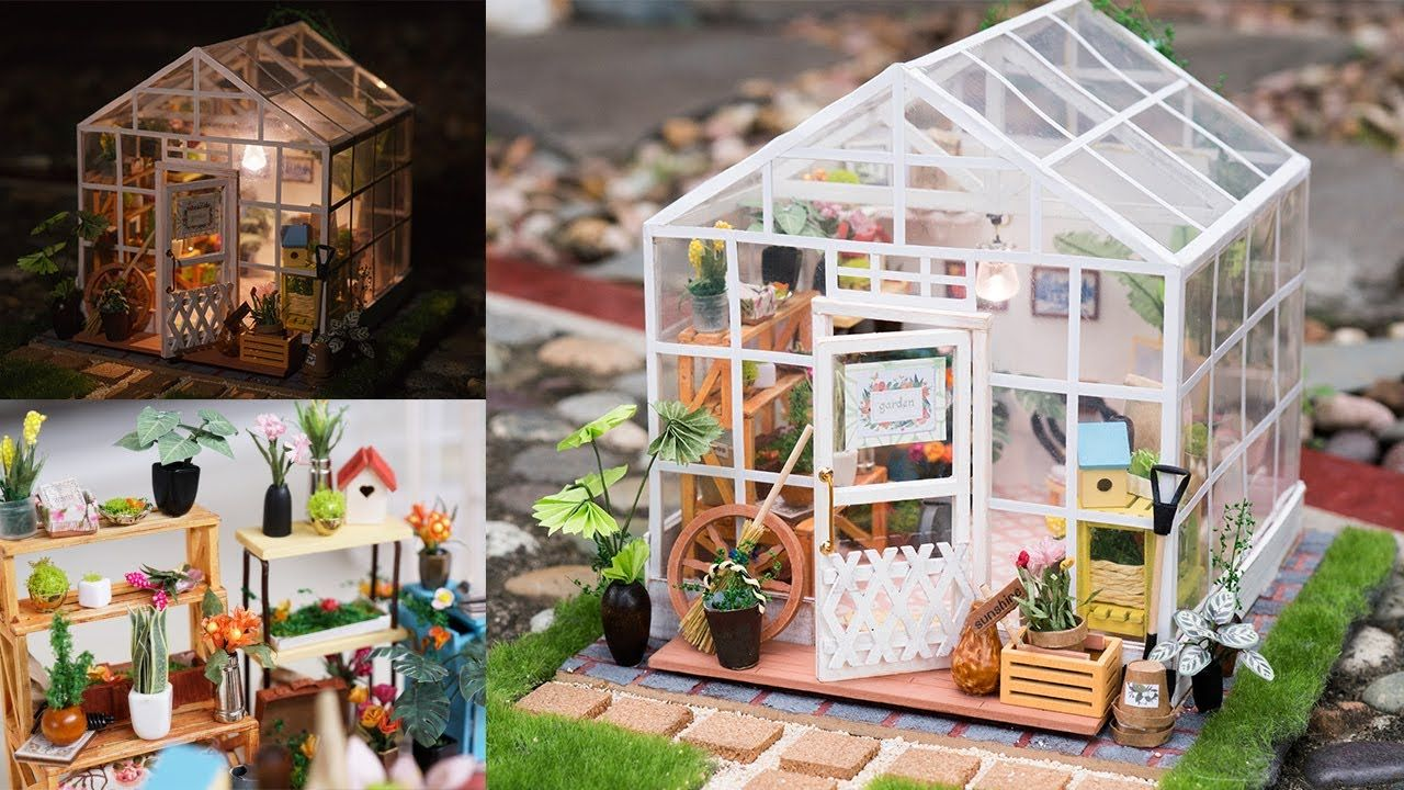 Diy Dollhouse Kit Miniature Greenhouse Cathy S Flower House With Led Diy Dollhouse Dollhouse Miniatures Diy Dollhouse Miniatures Kitchen