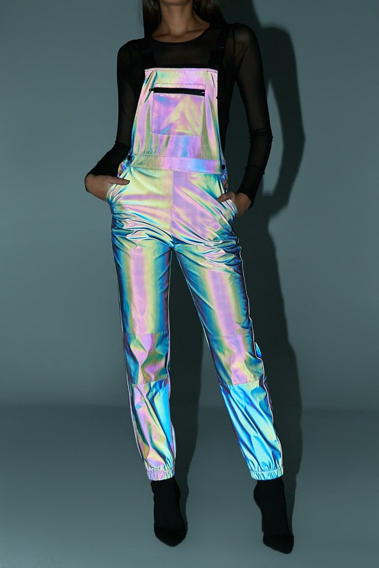 Iridescent Reflective Overalls | Reflective Clothing, Rave