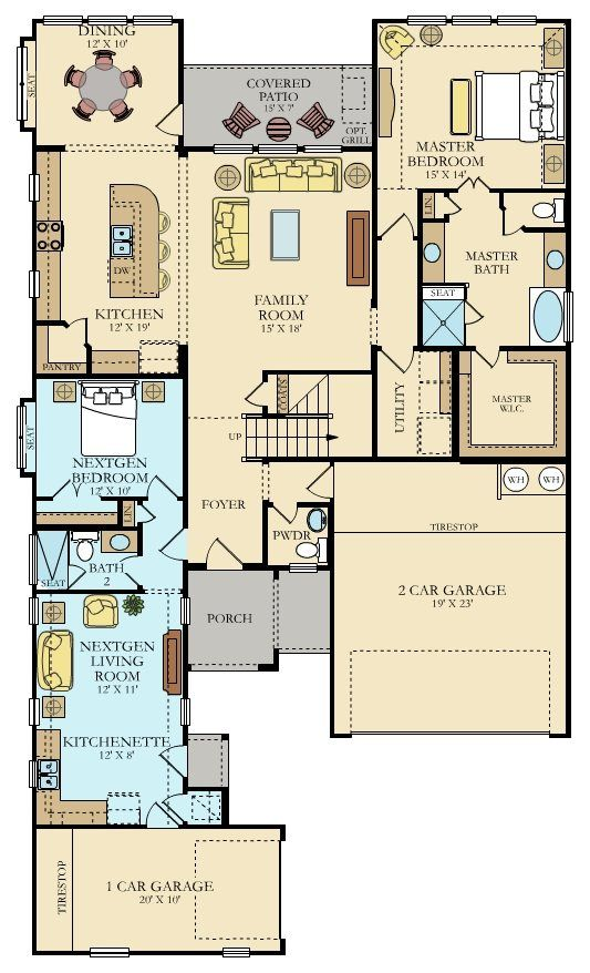 Campbell Nextgen New Home Plan In Carneros Ranch Multigenerational House Plans New House Plans Dream House Plans