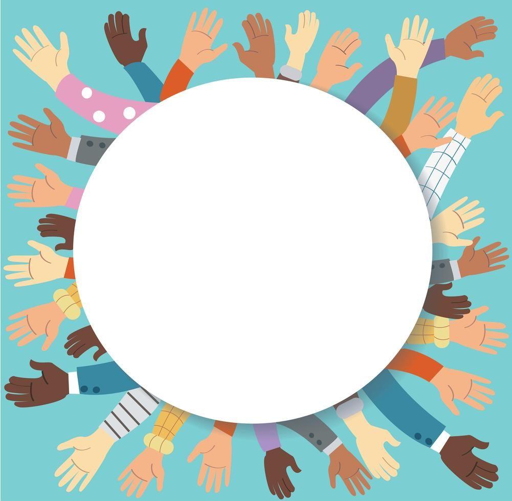 Protest Art Pro Download Raised Hands Volunteering And Blue Background Vector Concept Protest Art Art Vector Art