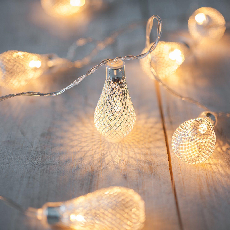 10er LED Lichterkette Metalltropfen warmweiß Batteriebetrieb: Amazon ...