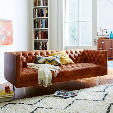 Modern Chesterfield Leather Sofa #westelm In Oxblood W/brass Legs