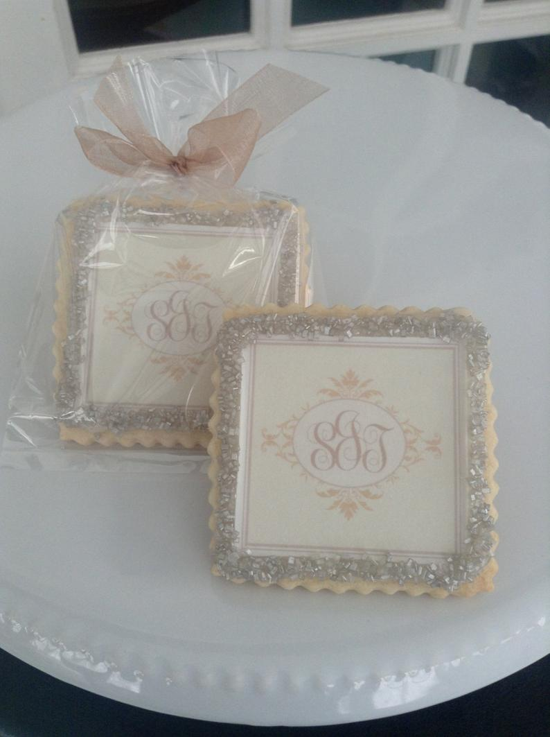 Monogram custom wedding cookie favors champagne1 Dozen