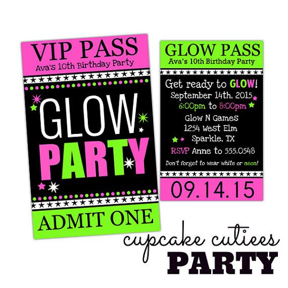 Glow Party Neon Pink Green  VIP lanyard by CupcakeCutieesParty