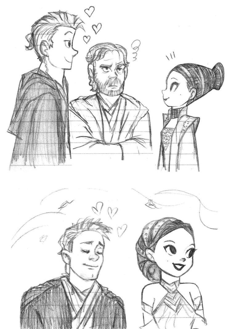 Cartoon Anakin And Padme Sketch By Katytorres Lol Obiwan S Face