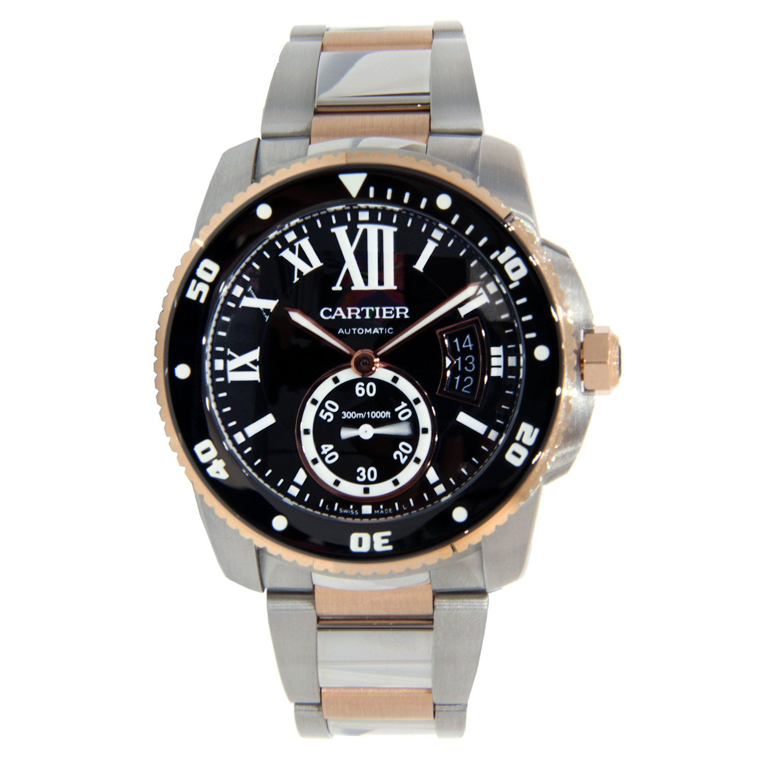 Cartier Calibre Two Tone Stainless Steel Rose Gold 42mm With Images Cartier Calibre Watches For Men Mens Watches For Sale
