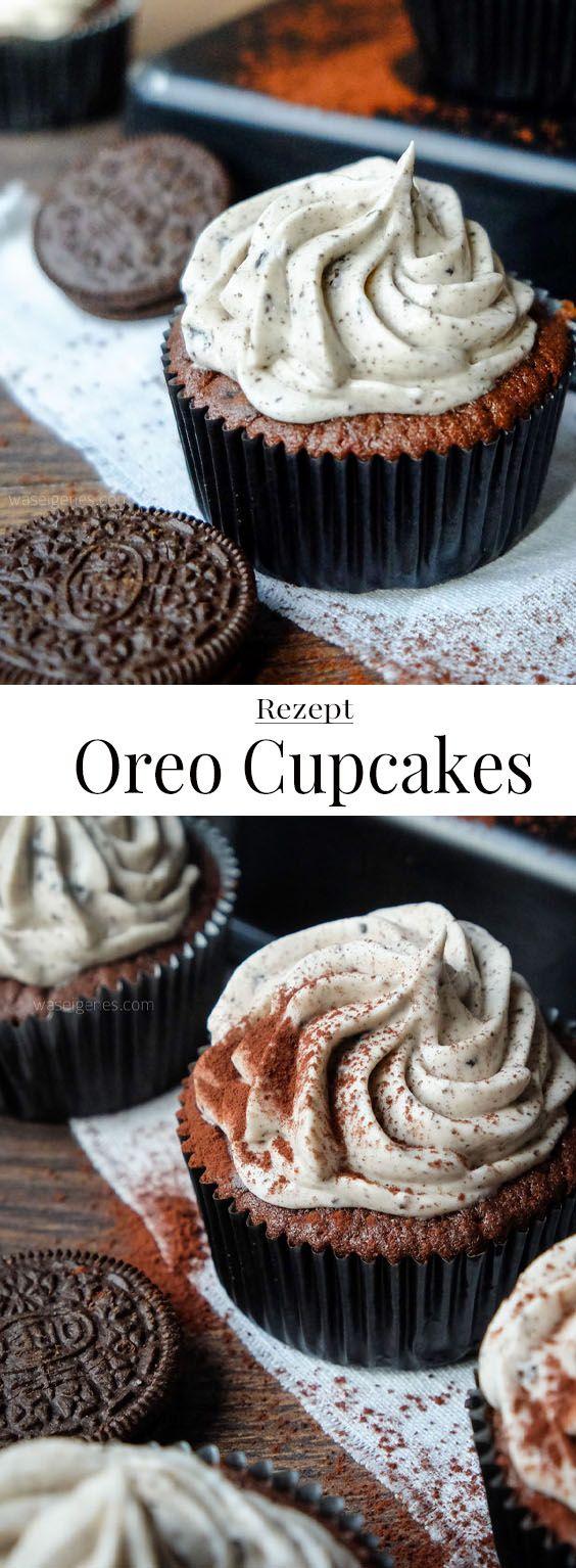 Rezept: Oreo Cupcakes mit Frischkäse Topping #cupcakesrezepte