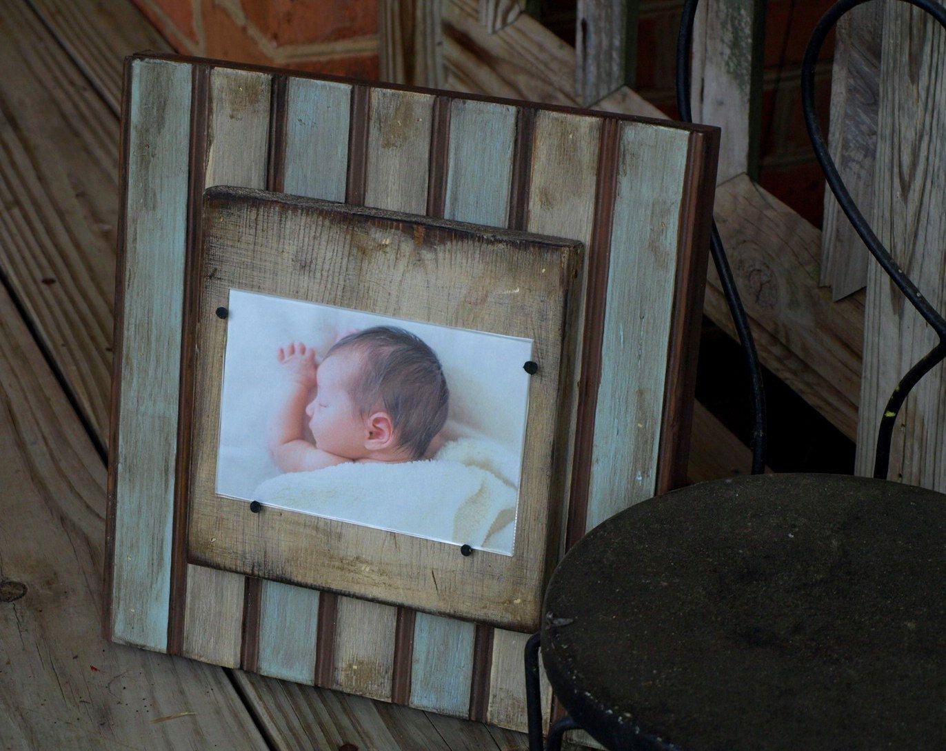 Bead board baby boy frame 4x6 distressed | Pioneer Rustics ...
