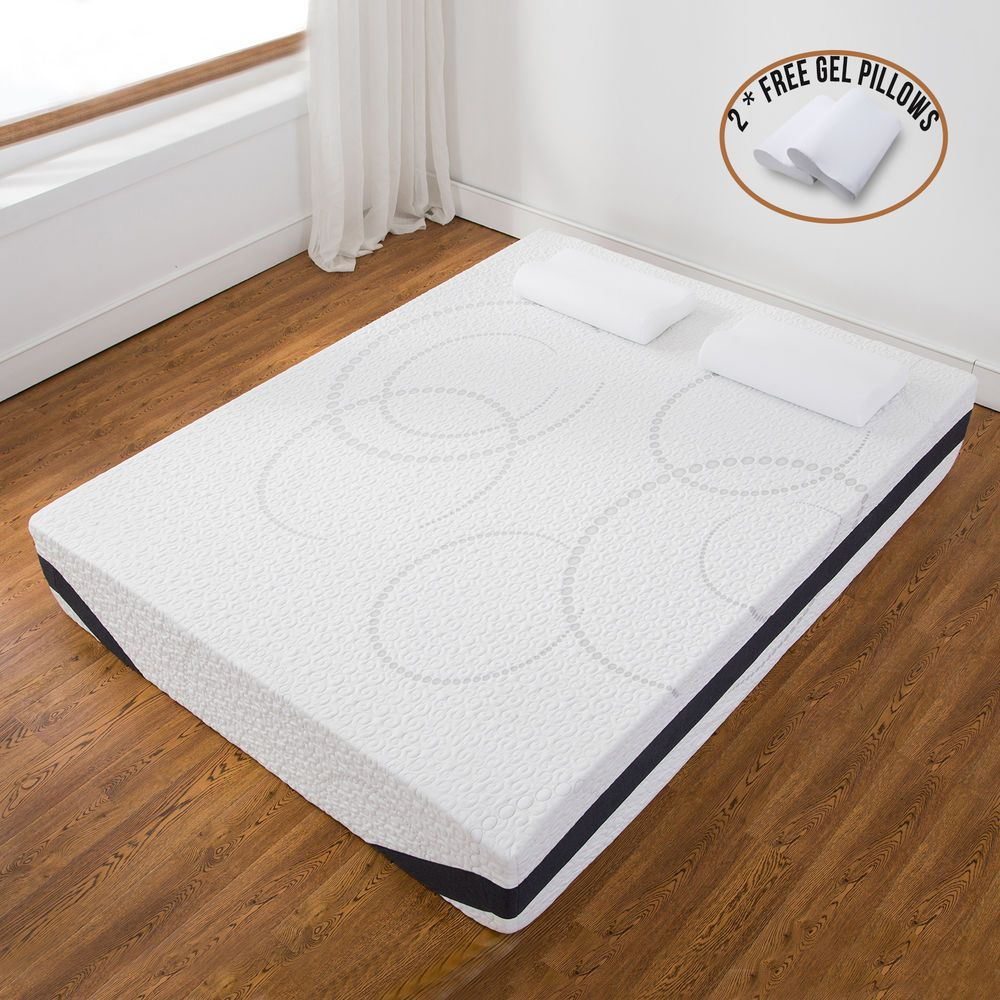 12 queen size cool medium firm memory foam mattress bed w 2 free gel