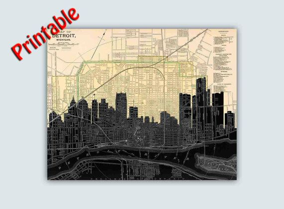 PRINTABLE Detroit Skyline, Detroit Wall Art, Detroit Map Art ...