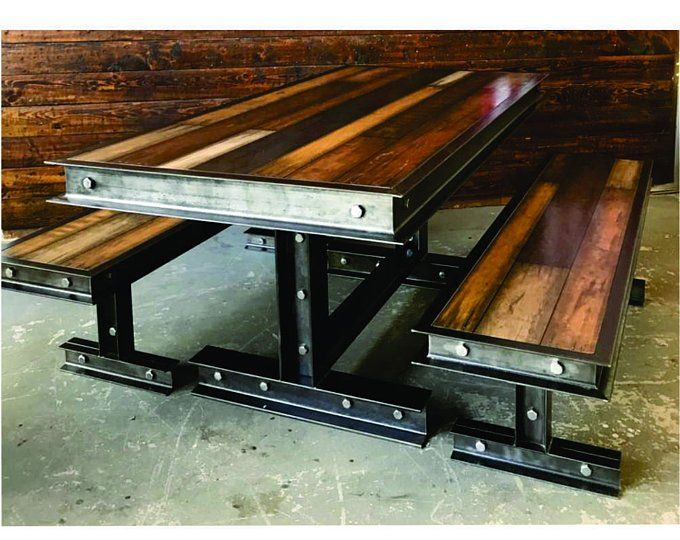 Industrial steel and reclaimed wood conference table 064 for Muebles industriales metal baratos