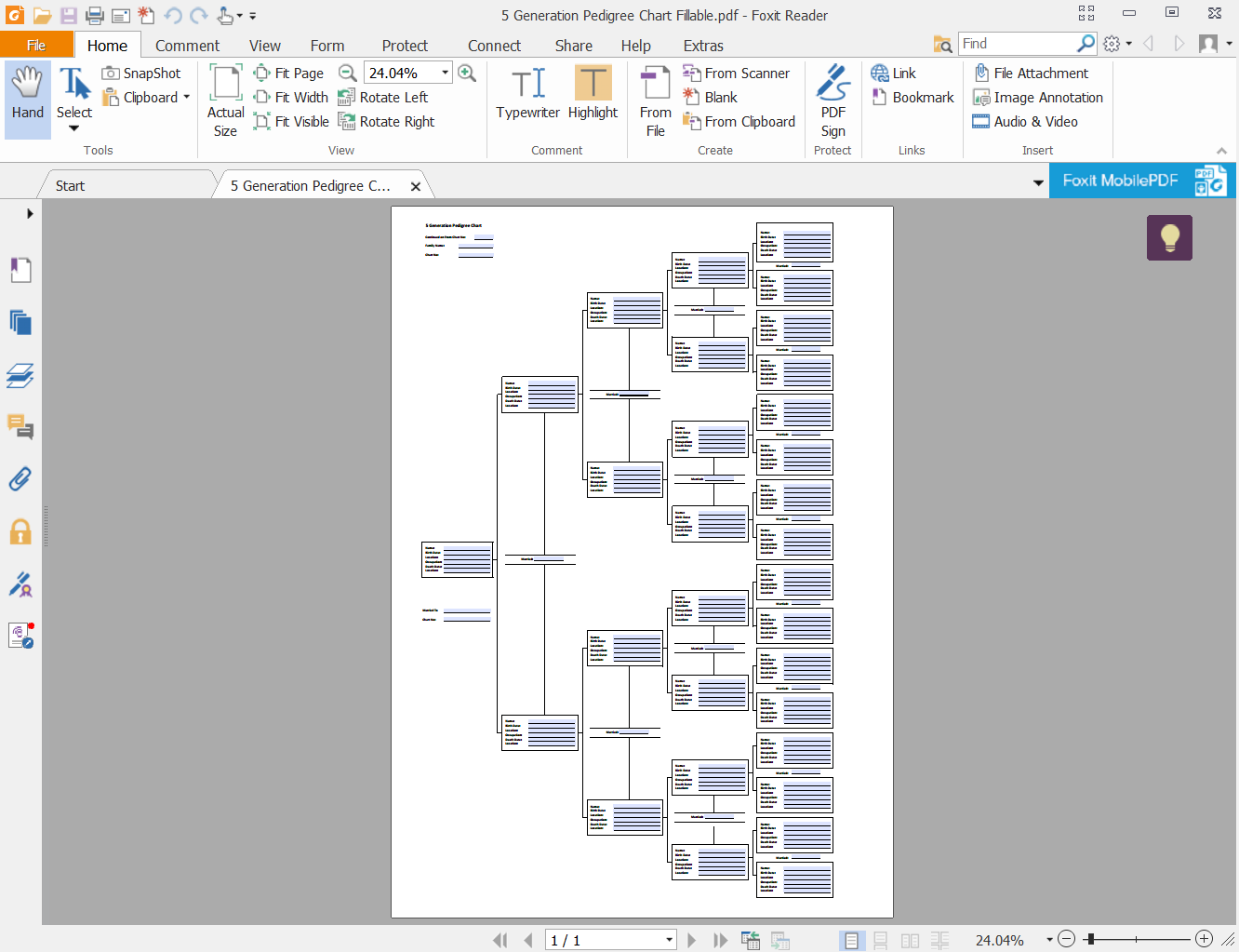 Fillable And Editable 10 Gen Pedigree Chart