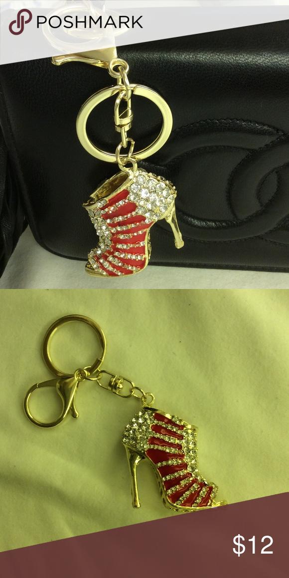 Rhinestone High Heel Shoe 👠 Keyring Key. Chain Pretty Rhinestone shoe 👠 high heel key ring Key chain Purse Charm 👛 Accessories Key & Card Holders