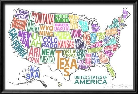 United States Of America Stylized Text Map Colorful Print For The - Cute-us-map