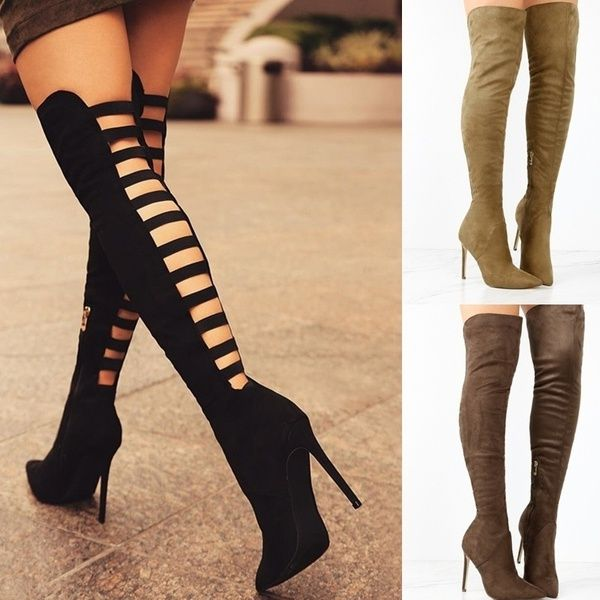 13b737c6428 NEW Fashion Women Autumn Winter Shoes Suede Elastic Boots High Heel ...