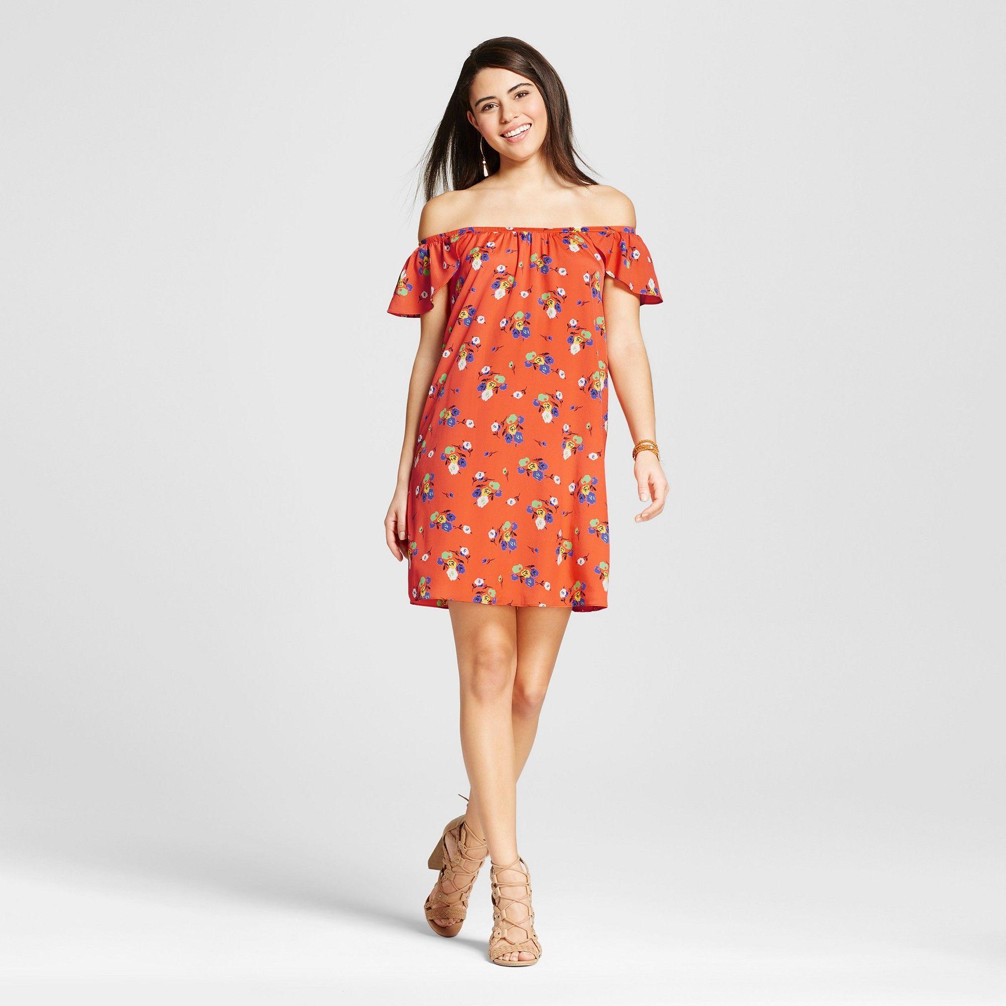 Womenus floral off the shoulder dress orange xl le kate juniors