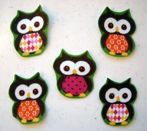 5 Pc Retro Owls No Sew Iron On Appliques Cotton Flannel by TDFT