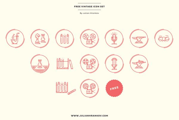Free Vintage Icons By Julian Hrankov Vintage Icons Graphic Design Logo Hipster Icons
