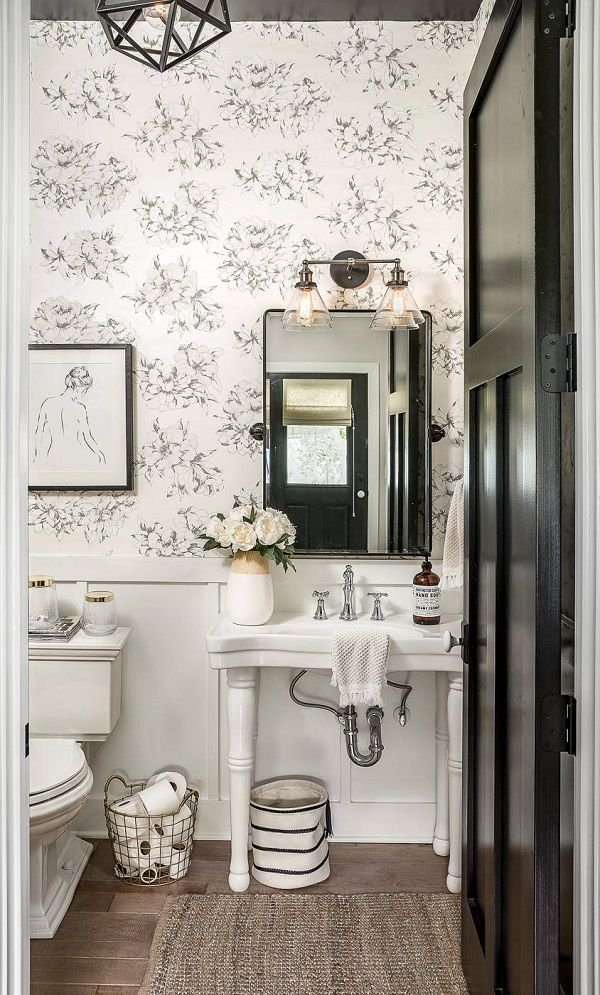 c4707a4aa ... You have to see this #farmhousesink decor idea with widespread silver  faucet and startegic sink mirror. Love it! #FarmhouseSinkDecor  #HomeDecorIdeas