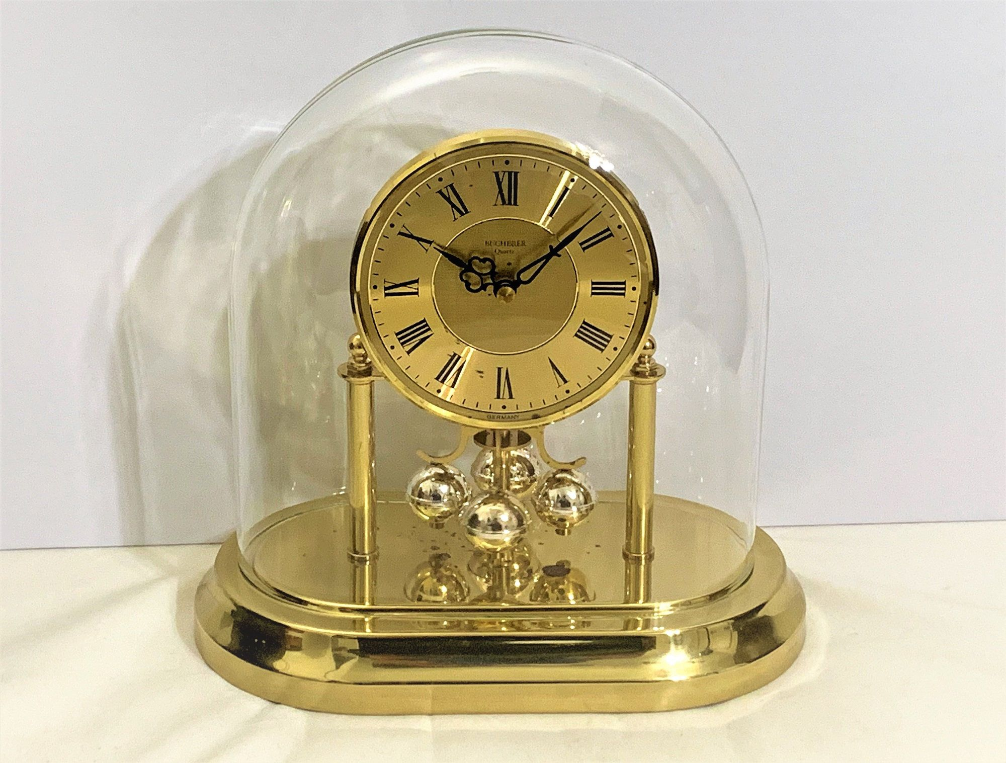 Vintage Bucherer Germany Anniversary Clock Special Le Coultre Wide Dome Edition Polished Brass 2 Tone Rotating Pendulu In 2020 Vintage Clock Clock Anniversary Clock