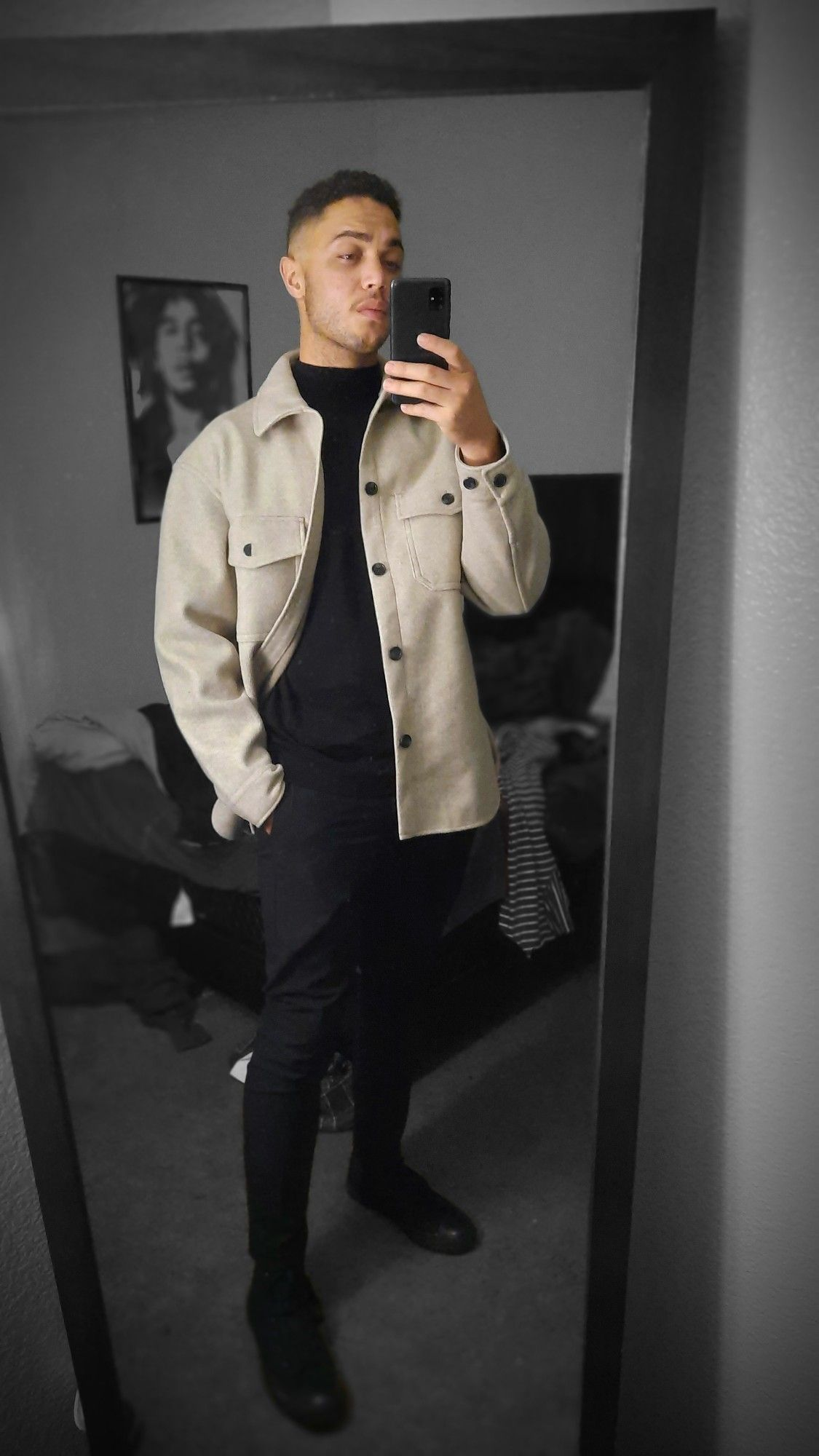 Black Turtleneck From Hm Black Slim Fit Dress Pants Tan Coupe Comfy Fit Coat Black Slim Fit Dress Pants Mens Outfits Slim Fit Dress Pants [ 2000 x 1125 Pixel ]