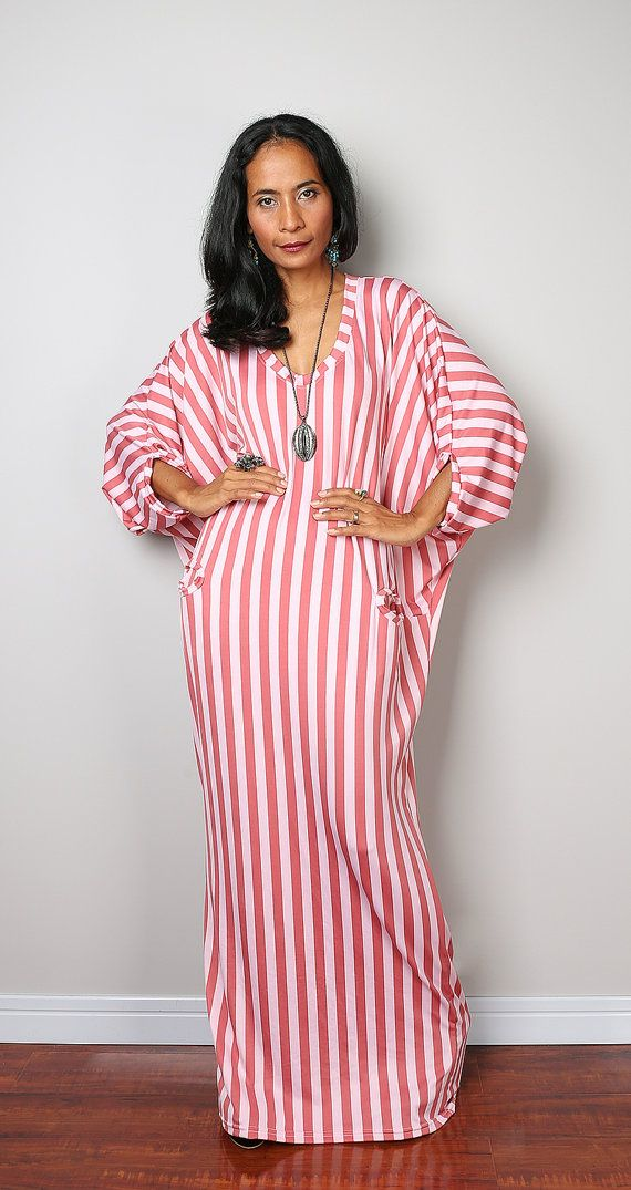 327b056c8d81 Striped Dress - Loose Fit 3 4 Sleeve Dark Coral and Pink striped ...