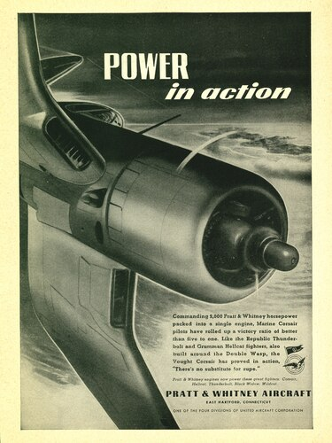 Corsair Power In Action Vintage Military Pratt Whitney Aircraft Airplane Poster Ad Reproduction 24 X18 Wwii Aircraft Art Aviation Posters Wwii Posters