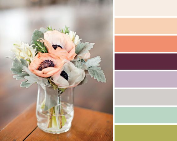 Dusty peach, plum and mint bouquet. My perfect color palette been struggling with mint and peach vs and coral vs and light purple