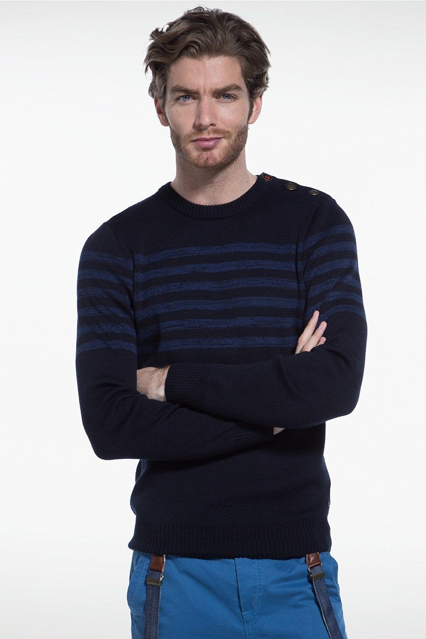 Pull homme maille rayée