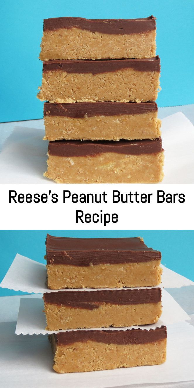 No-Bake Reese's Peanut Butter Bars Recipe. They taste EXACTLY like a Reese's, but something about them being homemade just makes them better. #peanutbuttersquares