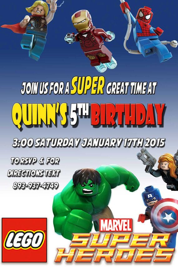 Printable Lego Marvel Birthday Party Invitation Digital Download Customizable For Your Spiderman Captain America Hulk
