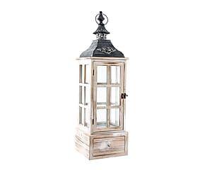 Lanterne KERYM verre et bois d'épicéa, blanc vieilli - H73