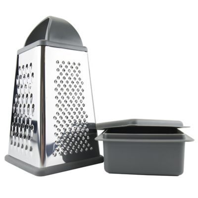 Tovolo Elements By   Box Grater With Storage Container - Avoid the mess on your counter or cutting board with the Box Grater with Storage Container from Elements by Tovolo. Grates or slice directly into its bowl, then add the ingredients to your meal or snap on the lid and save them for later.