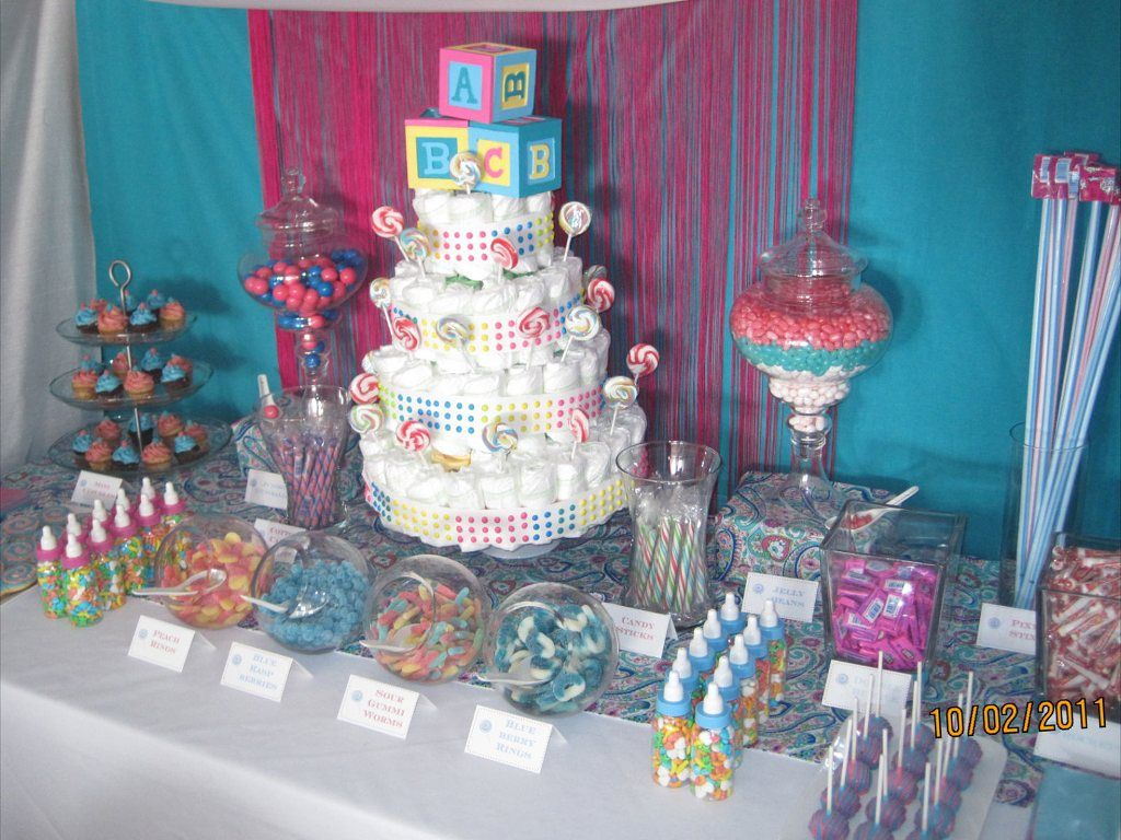 Dessert table melissa s baby shower dessert table for Babys decoration
