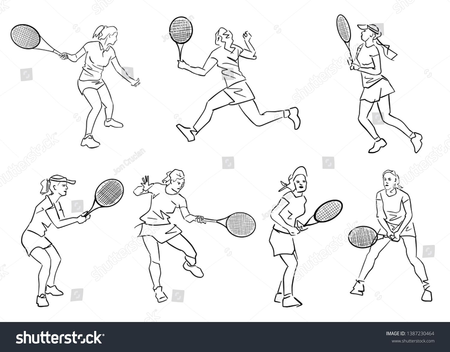 Set Of Female Tennis Players Hand Drawn Silhouette Black Lines Drawing Abstract Isolated Contour Activ Tennis Players Female Line Drawing How To Draw Hands