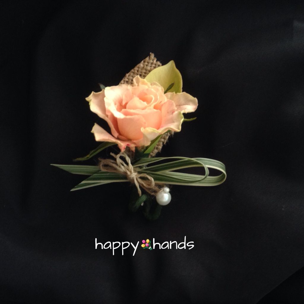 Peach Garden Rose Boutonniere a lone peach rose boutonniere with add ons of fresh and burlap