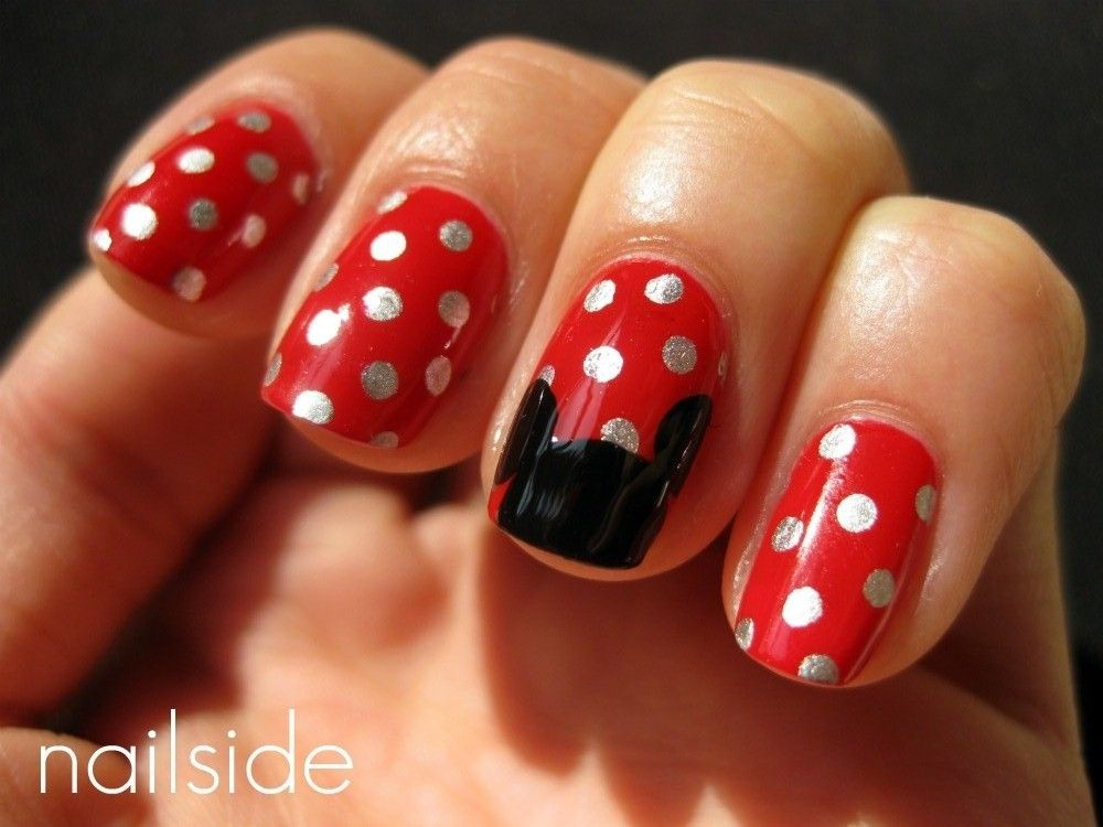 Red + Silver Polka Dot + Black mickey mouse nails :) too cute ...