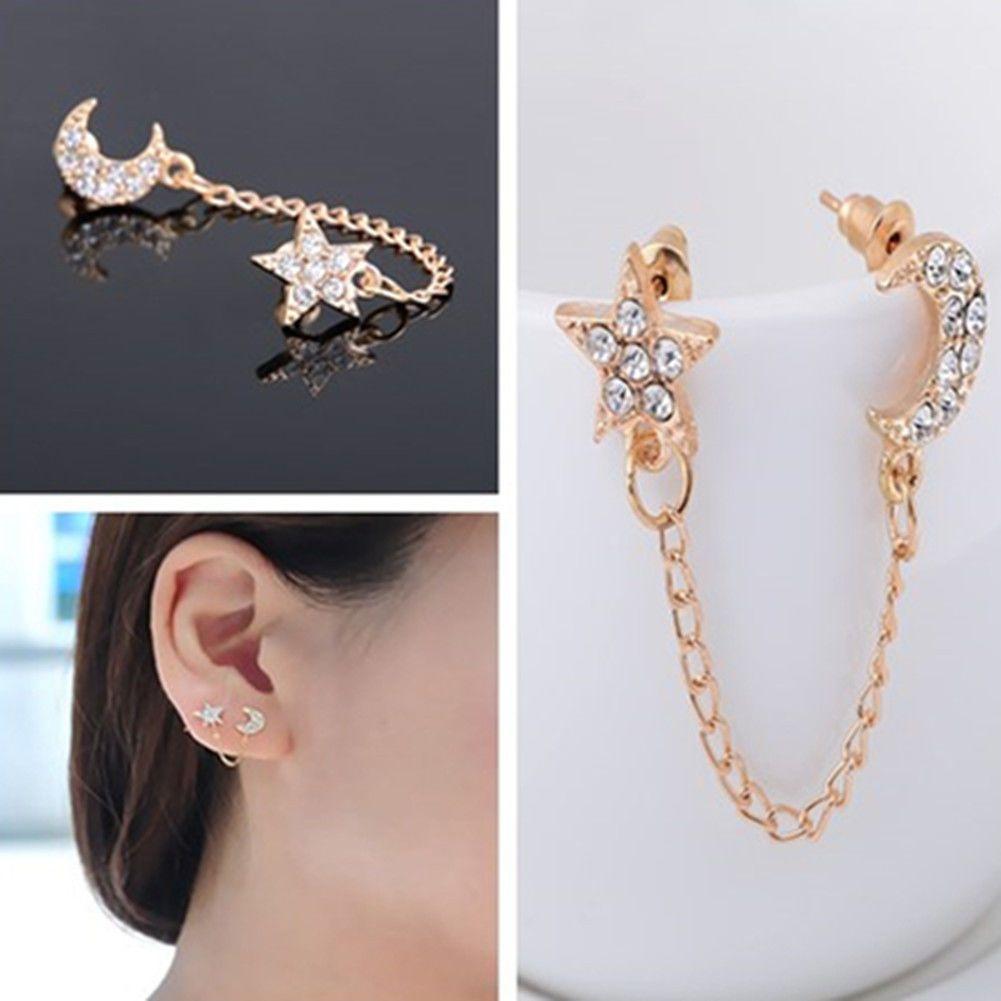 Retro Two Piercing Earring Ear Cuff Chain Clip Double