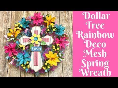 2028e0bd579 Wonderful Wreaths  Dollar Tree Rainbow Deco Mesh Cross Wreath - YouTube