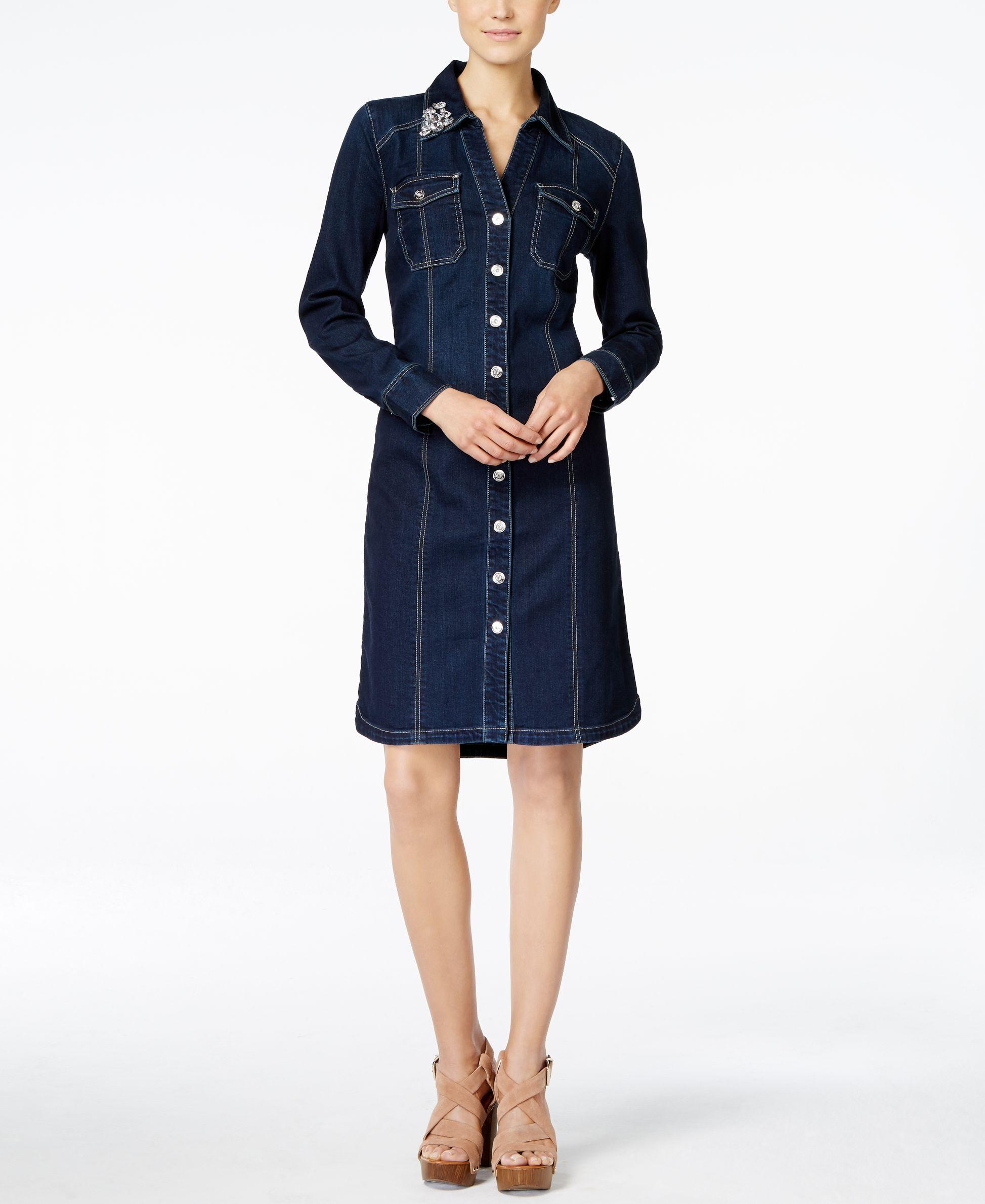 d812968595 Inc International Concepts Petite Embellished Indigo Wash Denim Shirt Dress