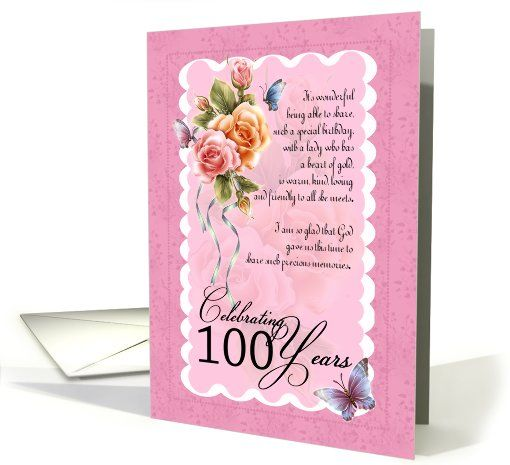 100 Years Old Greeting Card Roses And Butterflies Card Butterfly