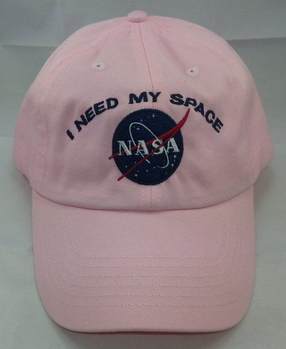 d377817909507 NASA I Need My Space Embroidered Baseball Hat   Pink Hat w  Navy Blue  Embroidery 100% Cotton Bio-Was