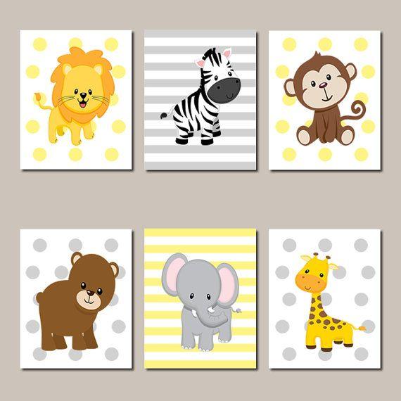 Dschungel Kindergarten Wand Kunst Drucke oder Leinwand