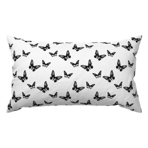 Classic Butterflies in Black and White Lubmar Throw Pillow @ Spoonflower #spoonflower #fabric #pillow #pillows #throwpillows #throwpillow #pillows #pillow