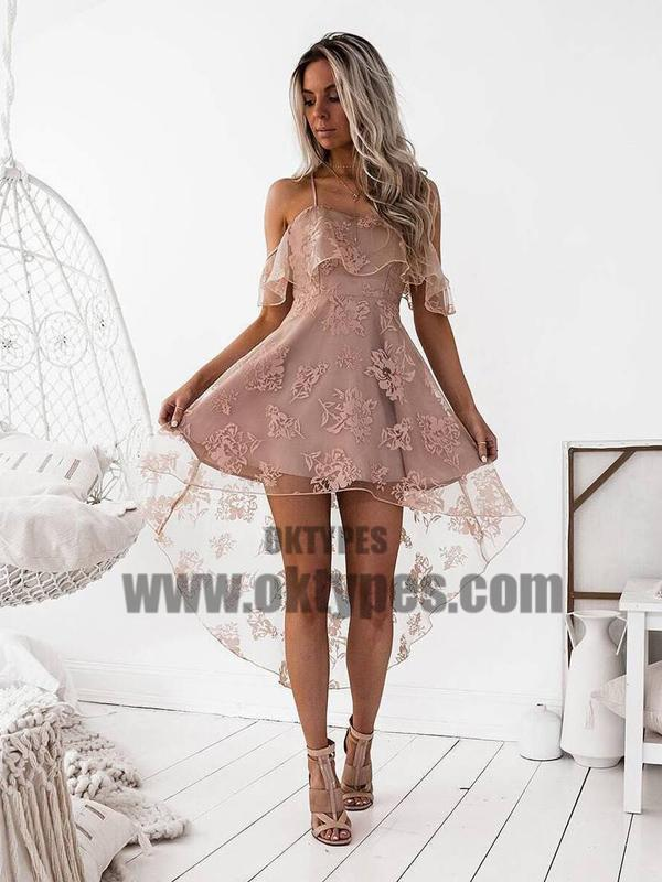 3c1ffba20f6cd Off Shoulder High Low Dusty Pink Lace Homecoming Dresses 2018, TYP0664