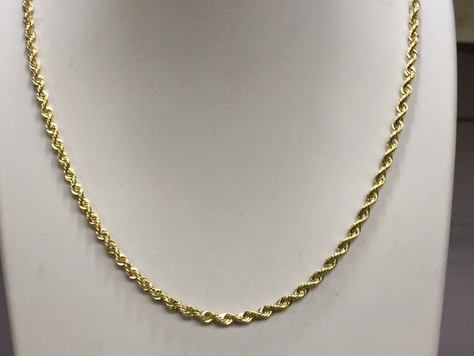 14k Solid Gold Rope Pendant Link Chain Necklace 16 3mm 13 Grams Sr023 Ebay Gold Chains For Men 14kt Gold Chains Gold Chains