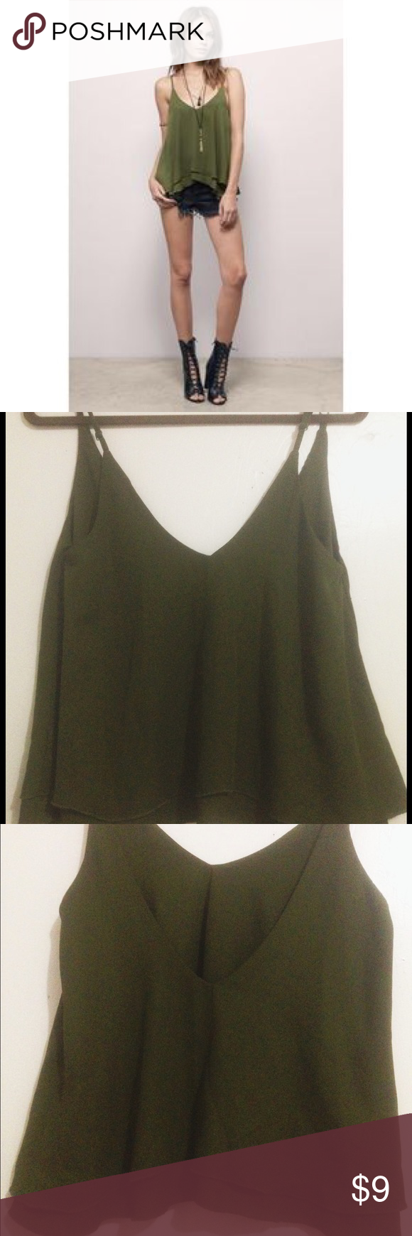 Olive green tank top 🌻 Perfect for a summer day out! Wear with jeans or shorts . Adjustable straps. Like new condition. Love the back on this 💚 Tobi Tops Tank Tops